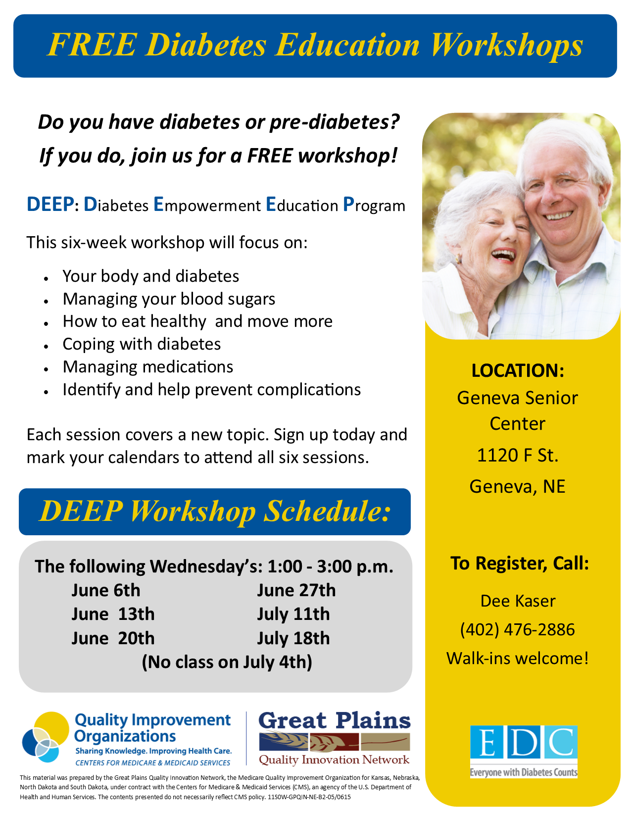(Free) Diabetes Education Workshops, Geneva, NE @ Geneva Senior Center | Geneva | Nebraska | United States